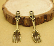 15/60/300pcs Tibetan Silver/Bronze Beautiful fork Charms Pendant DIY 7x34mm