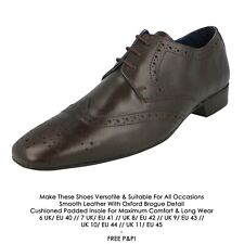 Mens Real Leather Shoes Oxford Brogue Loafer Lace Up Italian Style Size- Selkirk