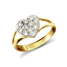 Jewelco London 9ct Gold CZ Love Split Shoulders Baby Ring