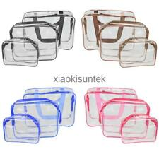 3 Piece Cosmetic Makeup Toiletry Clear PVC Travel Wash Bag Holder Pouch Set New