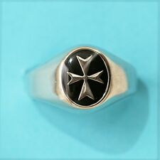 Sterling Silver Maltese Cross Solid Ring Black Enamel SMALL FACE FACTORY PRICE