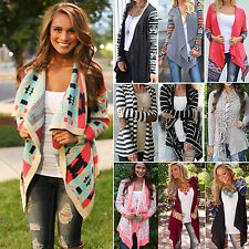 Women Boho Irregular Long Sleeve Casual Knitted Sweater Cardigan Top Coat Jacket