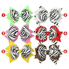 1x Big Hair Bows Zebra Boutique Baby Girl Ribbon Alligator Clip Hair Accessorie