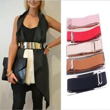 Fashion Women's Elastic Wide Mirror Surface Buckle Belt Waistband for Dress