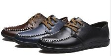 New Mens Casual Round Toe Shoes Lace Up Genuine Leather Drive Shoes Hombre 6-9.5