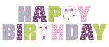 "13 x 1"" EDIBLE LETTERS HAPPY BIRTHDAY PURPLES EDIBLE PRECUT ICING CAKE TOPPERS"
