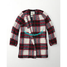 NWT ABERCROMBIE & FITCH WOMENS PLAID WOOL-BLEND JACKET COAT RED PLAID SIZE M,L