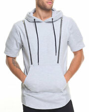 Smoke Rise Heather Grey Biker Front Zip French Terry Short-Sleeve Hoodie