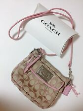 Authentic Coach Poppy Signature Pink Tan Crossbody Bag Size Small Leather Canvas