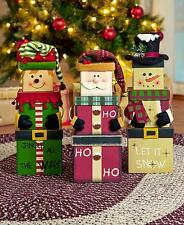 Stacking Christmas Holiday Boxes ~ Santa Clause or Snowman ~ Decorations Figures