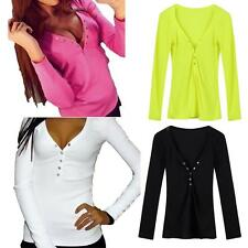 Womens V Neck Loose Pullover T Shirt Long Sleeve Cotton Tops Shirt Blouse C6M7