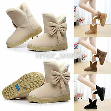Women Faux Suede Fur Lined Winter Warm Martin Snow Booties Flat Ankle Boot Shoes