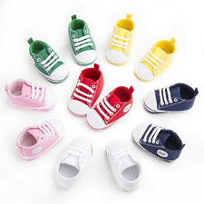 Newborn Baby Infant Crib Pram Shoes Soft Sole Boy Girl Unisex Sneakers Size123 #