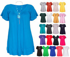 Ladies Frill Necklace Gypsy Ladies Short Sleeve Long V Neck Tunic Plus Size Tops