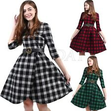 Womens Classic Rockabilly 3/4 Sleeve Check Vintage 50s 60s Pinup Swing Dress New
