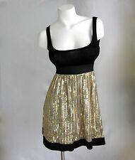 New Black Gold Sequin Sexy Dress Size S M New Empire Waist Party Sleeveless Nwt