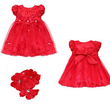 Lovely Baby Girl  Party Wedding Party Red Princess Dress+Headband Set