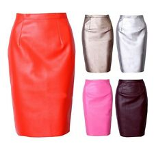 Sexy Womens PU Leather Short Pencil Dress Bodycon High Waist OL Midi Party Skirt