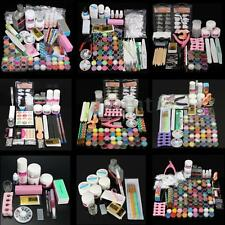 48 Colors Acrylic Powder Liquid Nail Art Kit Glitter UV Gel Glue Tips Brush Kits