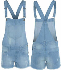 NEW WOMENS LADIES DENIM DUNGAREE SUMMER SHORTS DRESS JUMPSUIT 8 10 12 14 16