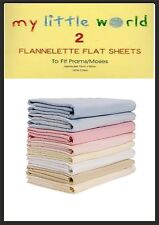 Pram/Moses Basket Blue Flannelette Flat Sheets Baby Nursery Pack of 2Cotton100%