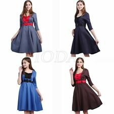 Womens Vintage 50s 60s Colorblock 3/4 Sleeve Rockabilly Pinup Flared Swing Dress