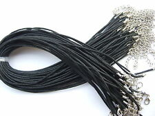 """20/50pcs Black Wax Cotton Cord Choker Necklace For Pendant With Chain 13""""-16"""""""