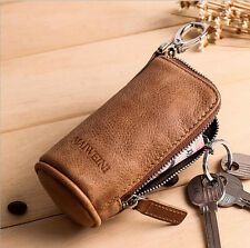 Fashion Unisex Genuine Leather Car Key Case Zipper Wallet Card Holder Key Bag