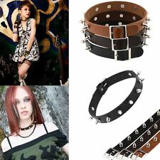 Rock Gothic Chic Choker Leather Silver Rivet Punk Necklace Stud Collar