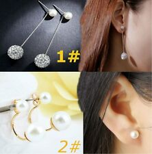 Beautiful Pearl Silver Plated Crystal Earrings Exquisite Jewelry For Women BE