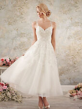 New V Neck White/Ivory Lace Tea Length Wedding Dress Bridal Gown Stock Size 6-18