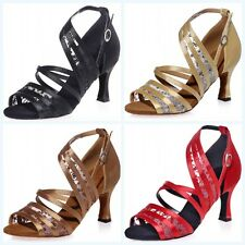 2.9'' Satin Strappy Womens Ballroom Dance Shoes Latin Salsa Party Mid Heels  New