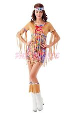 Ladies Costume Fancy Dress Up (309) 60s 70s Retro Groovy Costume Hippie sz 8-18