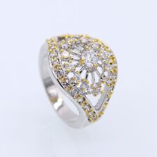 Fashion Men/Women Big Ring CZ Rhinestones 18K White GP & 24K GP Ring Size 6/7/8
