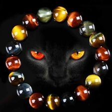 Colorful Gift Natural Bracelet Bangle Tiger's Eye Stone Round Beads Jewelry