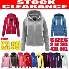 New Womens Ladies Zip Colours Hoodies Sweatshirt Plain Hoodys Jacket Coat  8-22
