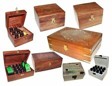 Carved Wooden Brass Aromatherapy Essential Oils Storage Box Holds Oil Bottles