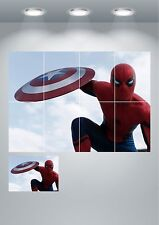 Spiderman Captain America Wall Art Poster Print A3/A4 Sections or Giant 1 Piece