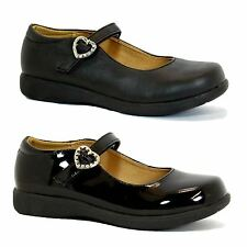 Girls children black school shoes girls party evening shoes size 9-2