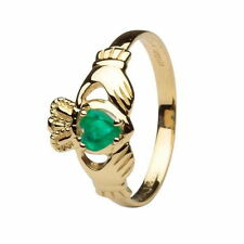 Claddagh 14K Yellow Gold Heart Emerald Set Ring Made in Ireland
