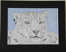 Snow Leopard Pastel Original Drawing mounted to 8x10 inches or Print variations