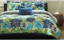 Beautiful Spring Floral Blue Purple Green 4-PC Comforter Set Twin or Full/Queen