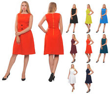 WOMENS CLASSY VINTAGE 1950S 1960S DRESS SLEEVELESS WORK OFFICE A LINE DRESSES