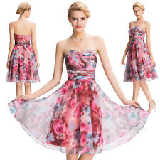 Floral Strapless Chiffon Short Evening Prom Party Dress Formal Homecoming Gowns