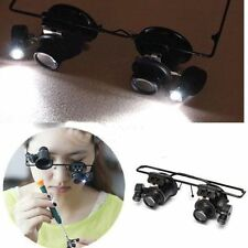 Eye Jeweler Watch Repair 20X Magnifier Magnifying LED Lights Glass Loupe Lens SG