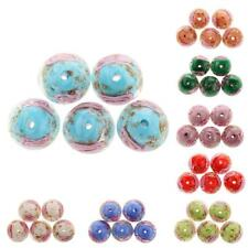 Phenovo 5x 12mm Lampwork Flower Glass Loose Beads For Jewelry Making