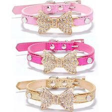 Bling Rhinestone Bow PU Leather Crystal Bowknot Puppy Collar Pet Collars US