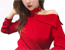 2017 New Simple Women Spring Fashion Korean Off Shoulder Long Sleeve Shirt Tops