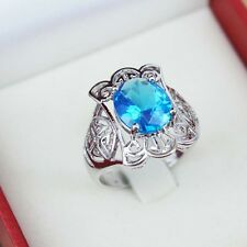 Silver Plated Rings Crystal Finger Band Ring Gift Sz 7 8 9 Blue Rhinestone
