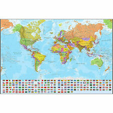 Canvas WORLD MAP POSTER Print on Canvas Detailed with Flags Waterproof